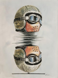 'In the Other Side' Helmet Reflection Abstract Watercolor