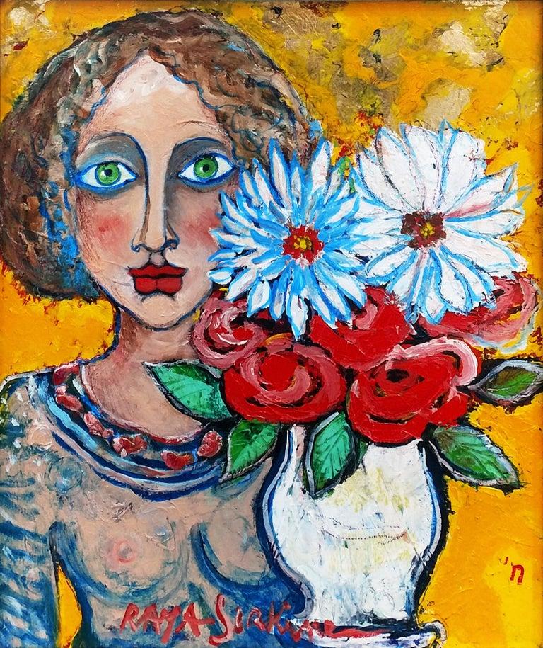 Alain Raya Sorkine Portrait Painting - JEUNE FILLE AUX YEUX VERTS