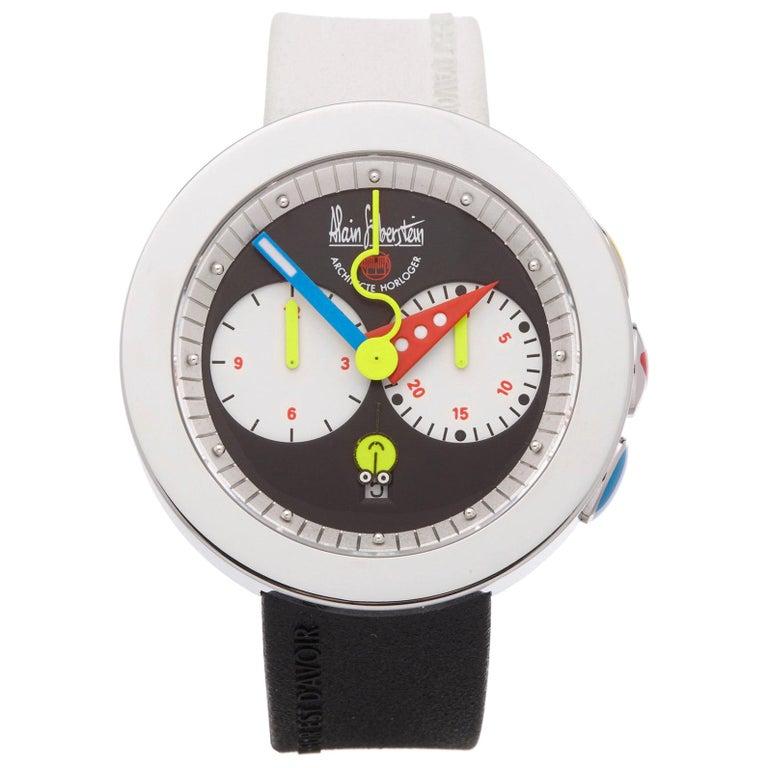 Alain Silberstein Rondo Krono Stainless Steel Chronograph Wristwatch For Sale