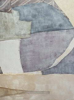 And Now I Am (Abstract Encaustic Fabric Painting with Violet Blue & Beige)