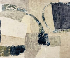 Happenings (Abstract Encaustic Fabric Painting on Panel in Navy, Green & Beige)