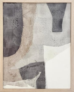 Muted Angles (Abstract Encaustic Painting with Stone Blue, Grey, & White Fabric)