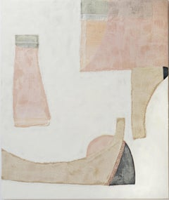 Shifting Shapes (Abstract Encaustic Fabric Painting with Pink, Sage & Beige,)