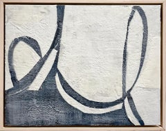 Threaded Waves (Abstract Encaustic Fabric Painting with Blue Black & Off-White)