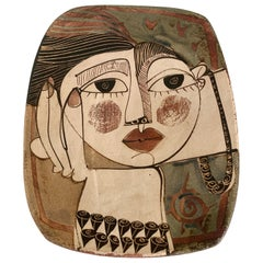 Alajar Pottery Plate with Face in the Manner of Picasso