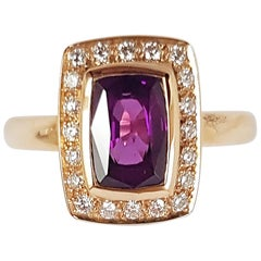 Alamandite Garnet with Diamond Ring Set in 18 Karat Rose Gold Settings