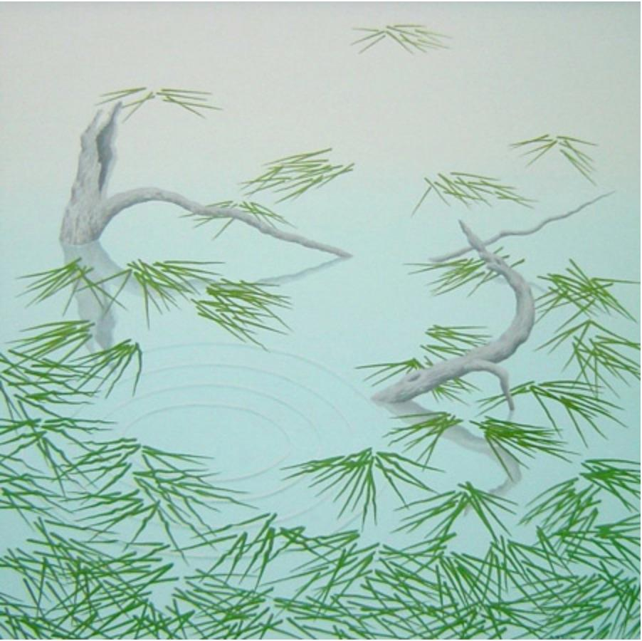 A Rise, blue and green casein on panel impressionist waterscape painting, 2004