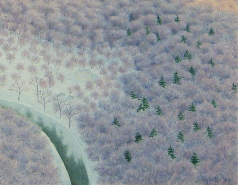 Ghost Farms, impressionist casein wintery landscape painting, 2020 - American Impressionist Painting by Alan Bray