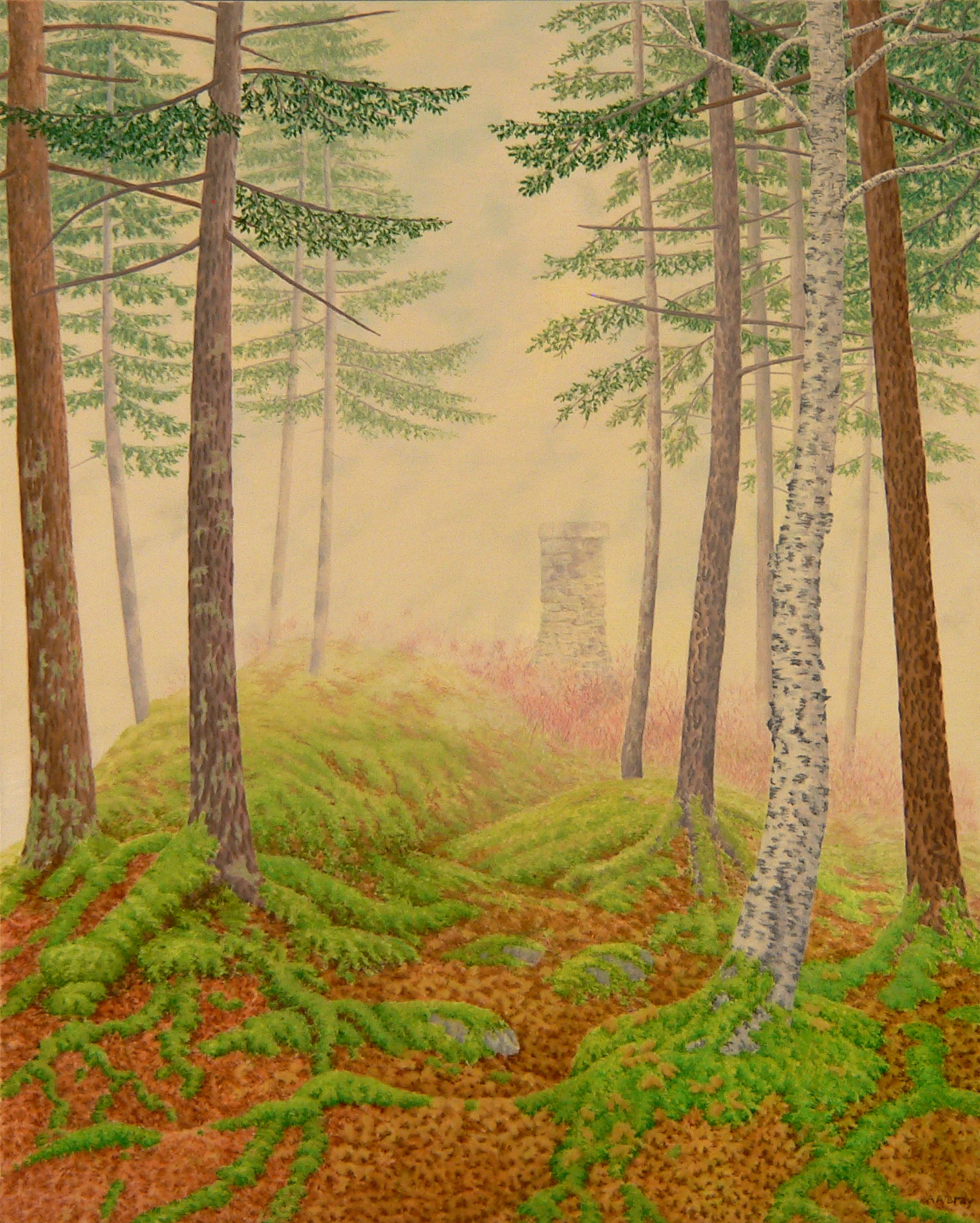 Sentinel, green and pink casein on panel impressionist landscape painting, 2020