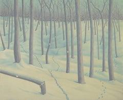 Trails, casein on panel impressionist Maine winter landscape, 2020