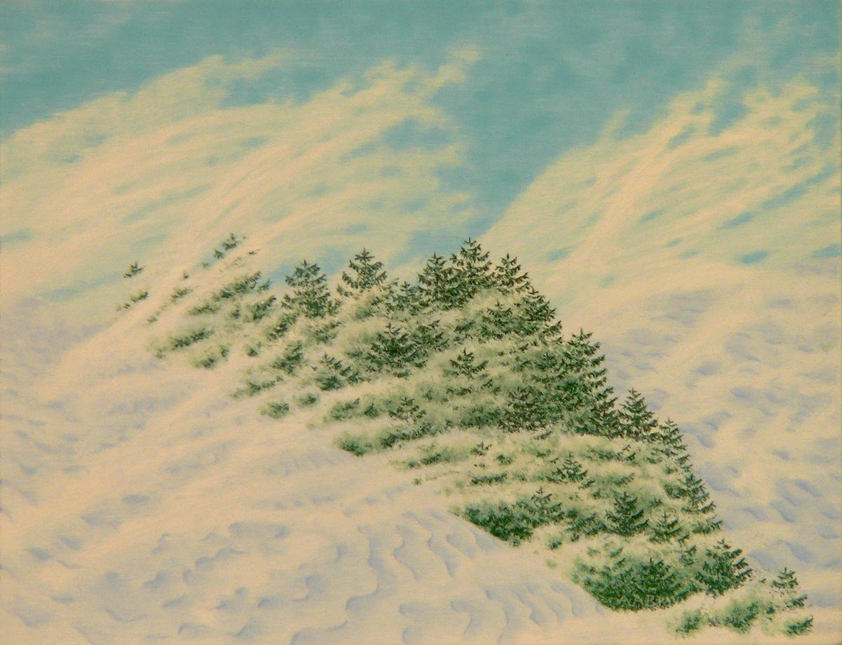 Winter Spruce, Impressionist casein Maine winter landscape painting, 2018