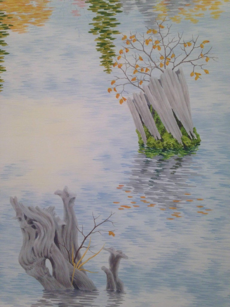 Drowned Forest, Casein Tempera on Panel, Landscape Painting For Sale 2