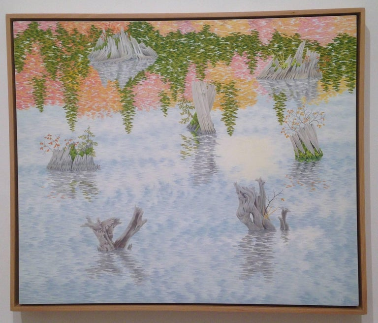 Drowned Forest, Casein Tempera on Panel, Landscape Painting For Sale 4