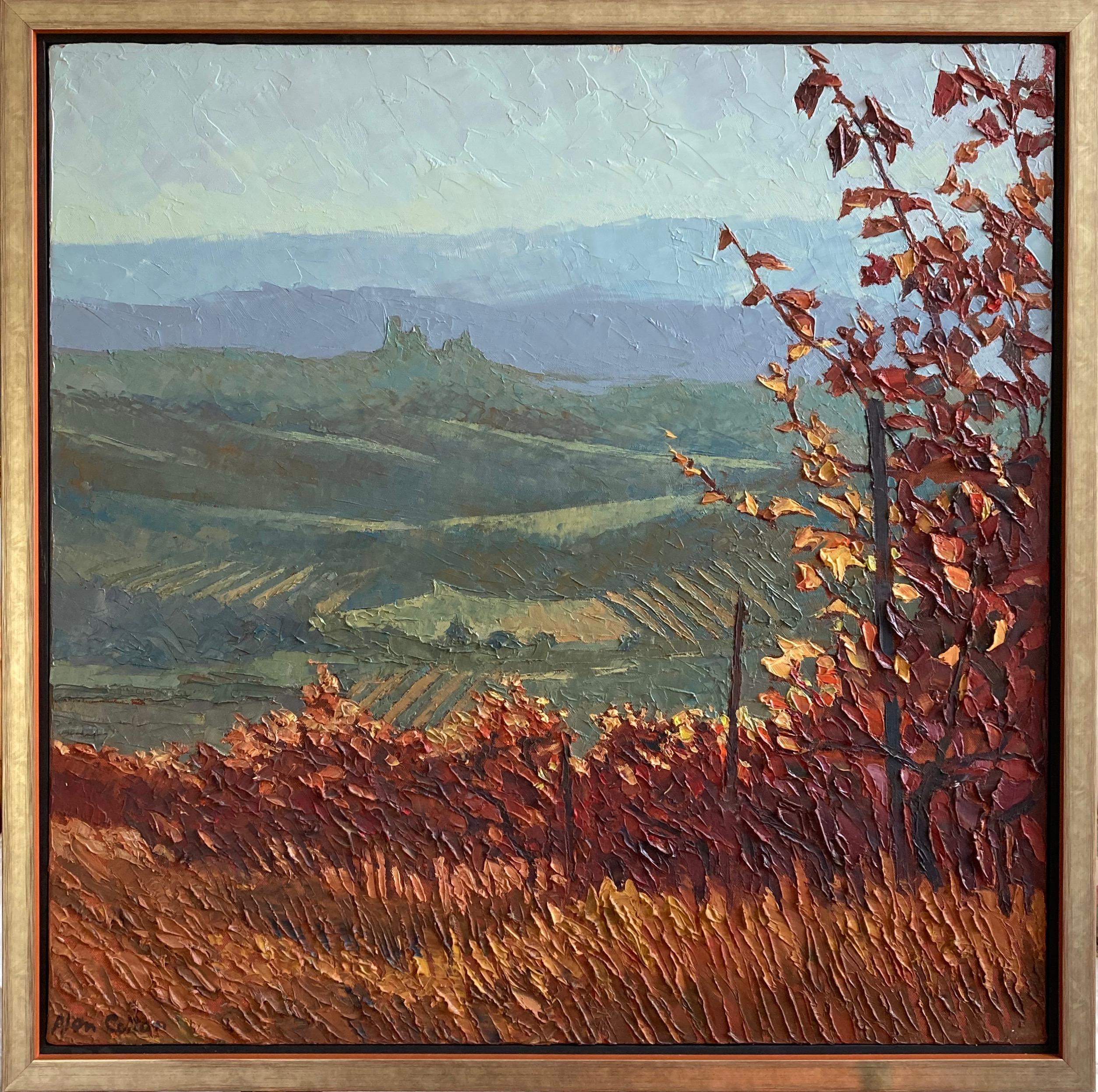 Alan Cotton, Piedmont, Impressionist scene of Italian vineyard in fall colours.