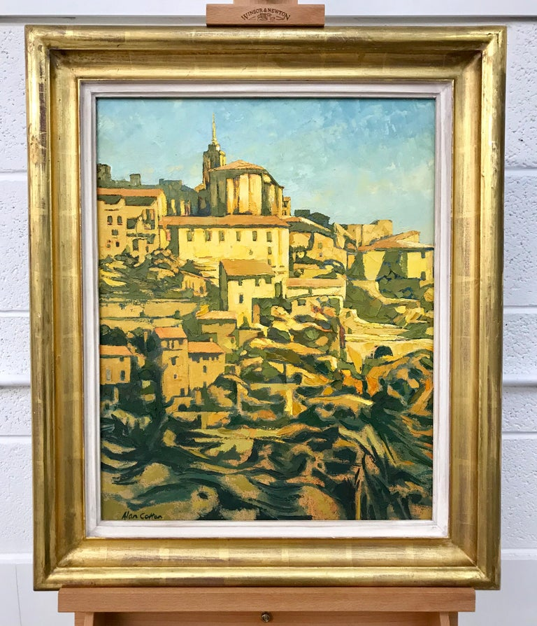 Impasto Oil Painting of Warm Sunlight in Gordes France by Royal British Artist Alan Cotton. Unique Original Oil on Canvas, dated 1988. Signed on the lower left, presented in the original frame and titled on the reverse. Alan Cotton (born 1938) is