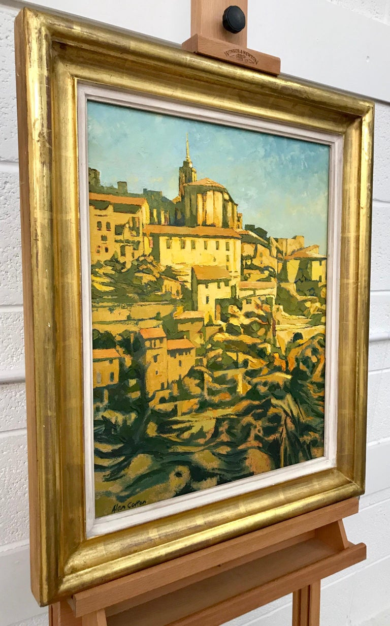 Impasto Oil Painting of Gordes Warm Sunlight by Royal British Artist Alan Cotton For Sale 1