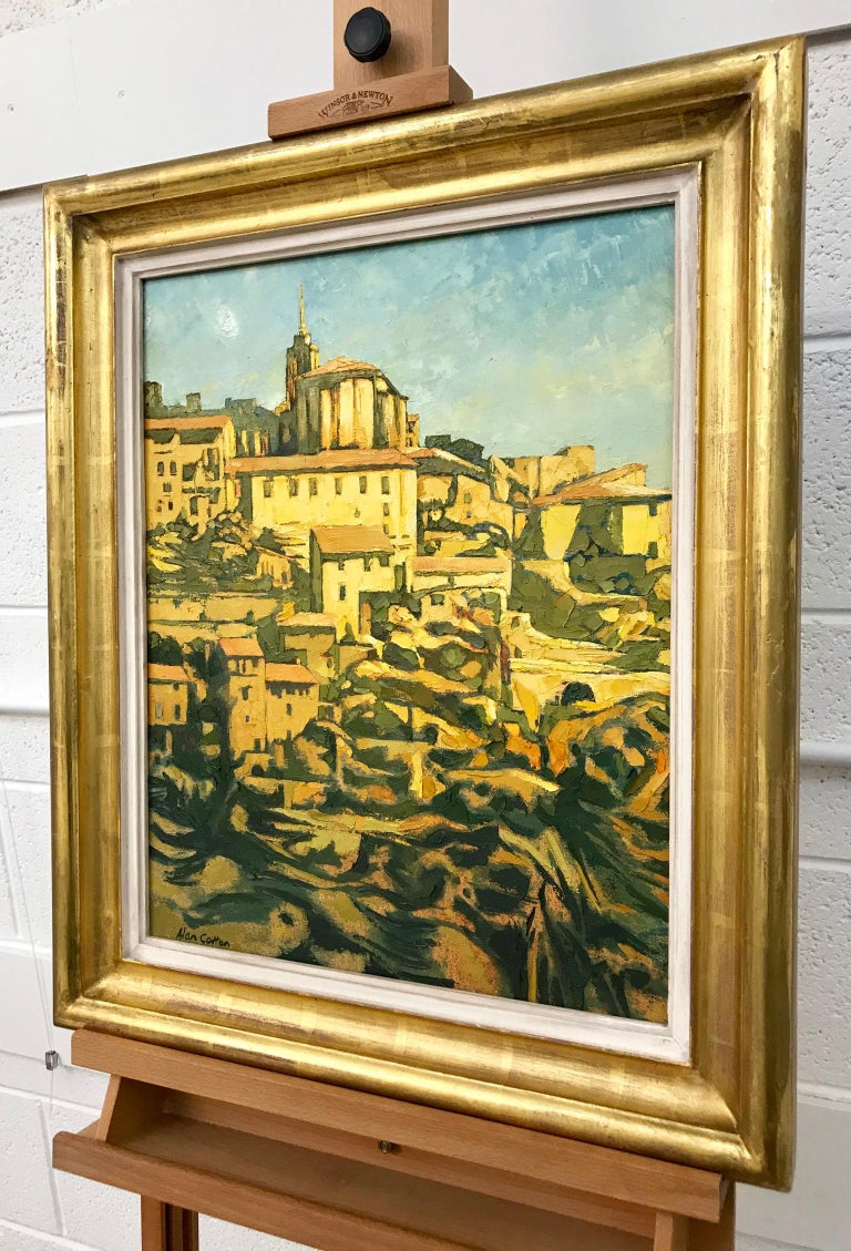 Impasto Oil Painting of Gordes Warm Sunlight by Royal British Artist Alan Cotton For Sale 2