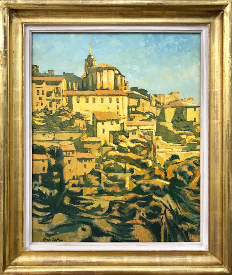 Alan Cotton Landscape Painting - Impasto Oil Painting of Gordes Southern France Warm Sunlight by British Artist