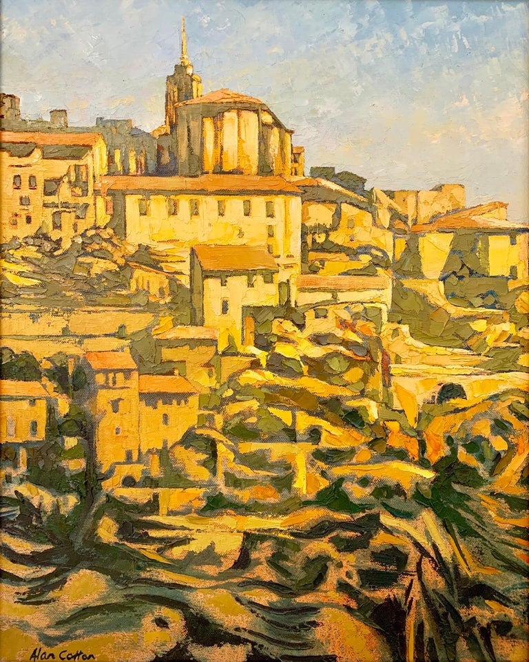 Impasto Oil Painting of Gordes Warm Sunlight by Royal British Artist Alan Cotton - Gray Landscape Painting by Alan Cotton