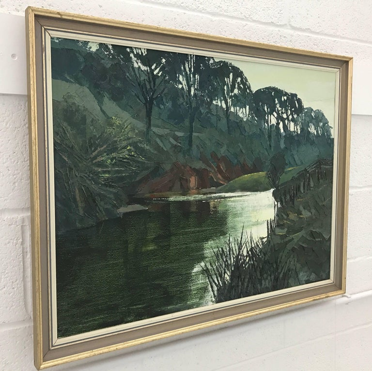 Original Impasto Oil Painting of English River Landscape by Royal British Artist For Sale 2