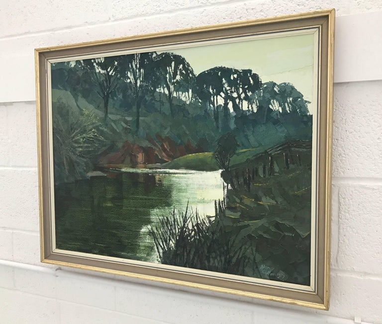 Original Impasto Oil Painting of English River Landscape by Royal British Artist For Sale 4