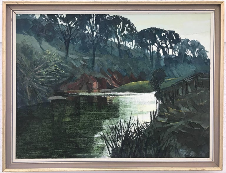Original Impasto Oil Painting of English River Landscape by Royal British Artist For Sale 3