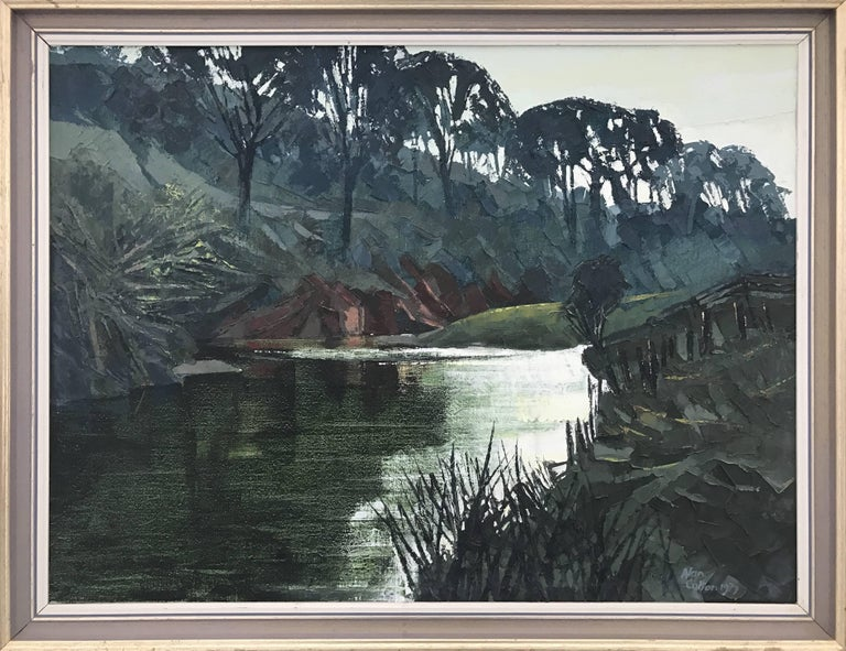 Unique Original Impasto Oil Painting of an English River Landscape by Royal British Artist - a large example of the early work of Alan Cotton. He captures the rich, green colouring and reflections to be found in an English riverscape. Impasto in