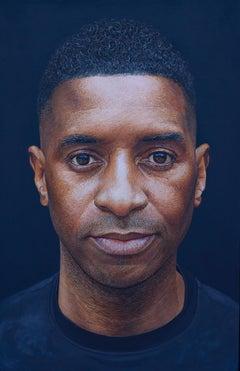 "Photorealist Portrait of a man,  ""Portrait of Wayne"", oil on panel"