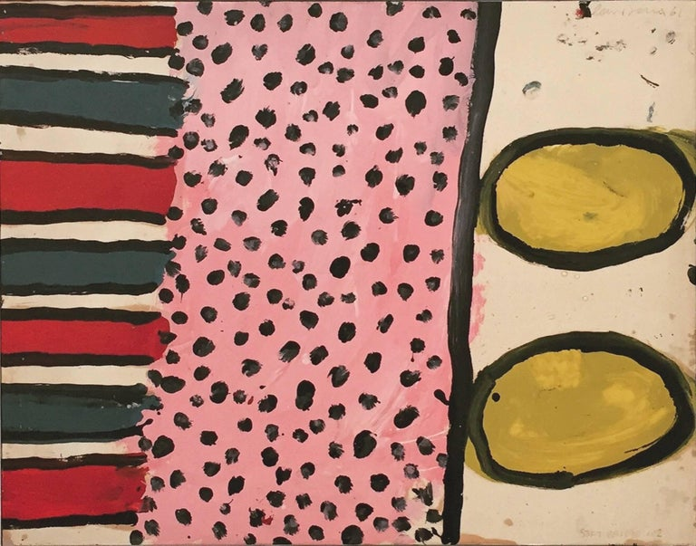 "Alan Davie ""Soft Bridge n°2"" 1961, Acrylic on Paper applied on Canvas Abstract"