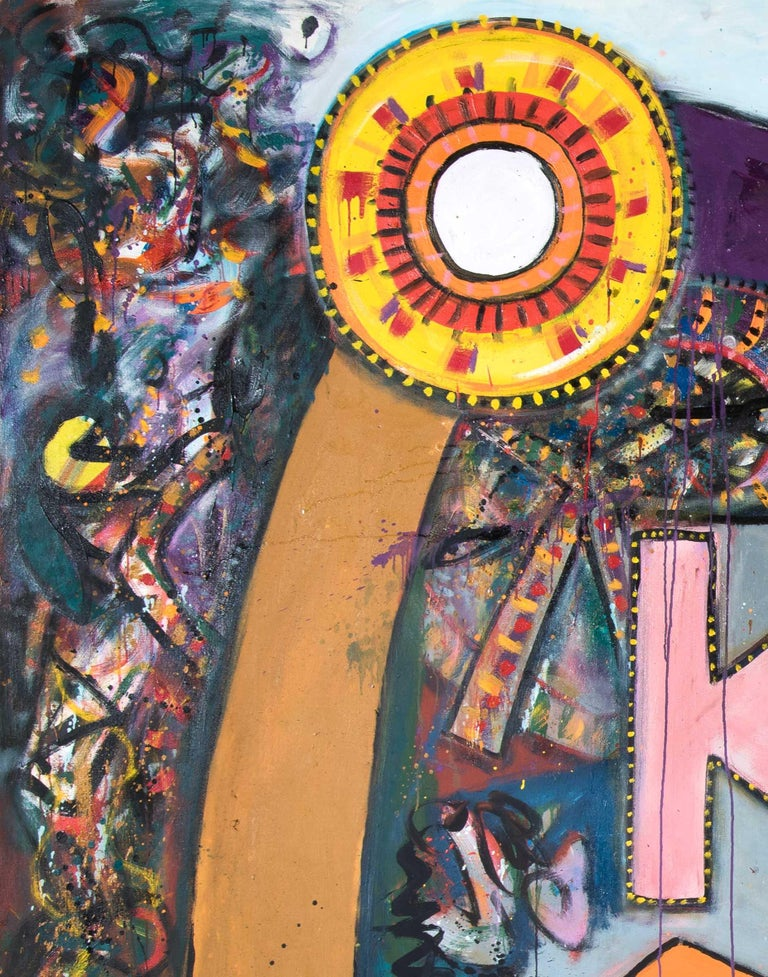 Queen Emma - Alan Davie, painting, modern, british, big, large, colorful, colors - Brown Abstract Painting by Alan Davie