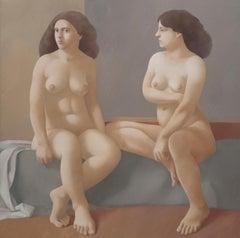 Alan Feltus Figurative Nude Woman Painting, 1974