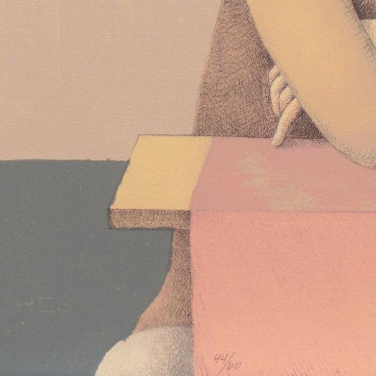 'Two Dancers', Yale, Cooper Union, Prix de Rome, Tyler School of Art, Assisi - Beige Figurative Print by Alan Feltus