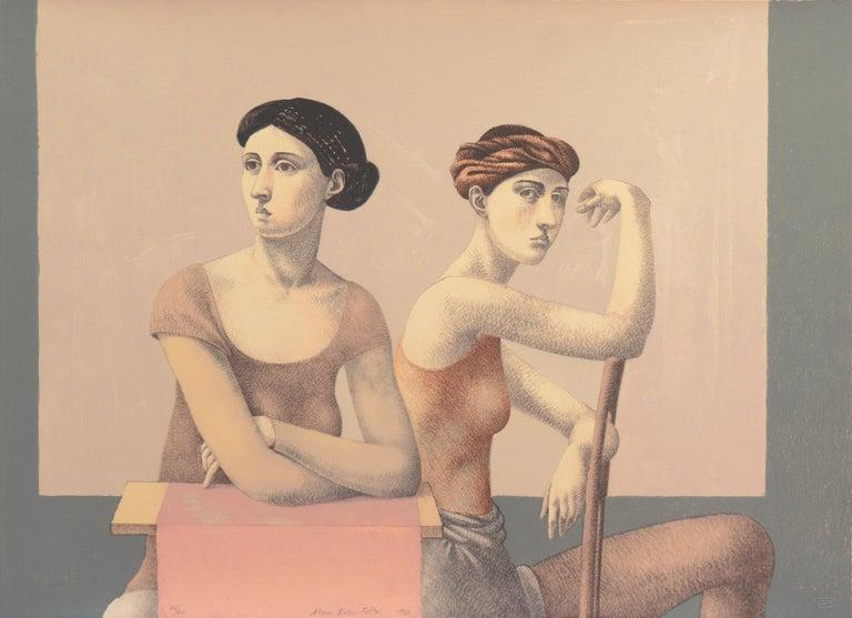 Alan Feltus Figurative Print - 'Two Dancers', Yale, Cooper Union, Prix de Rome, Tyler School of Art, Assisi