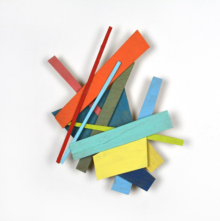 PS#21, 2017, Painted wood, 11 4/5 × 11 2/5 × 1 3/5 in, 30 × 29 × 4 cm, by Alan Franklin  A hand-painted wooden sculpture based on theories of randomness and chance but with a playful element, bringing to mind the idea of childs play and games.  In