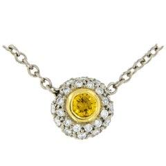 Alan Friedman Platinum Fancy Intense Yellow Diamond Necklace