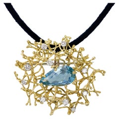 Alan Gard, London, 1968, Aquamarine, Diamond and Gold Wire Work Brooch-Pendant