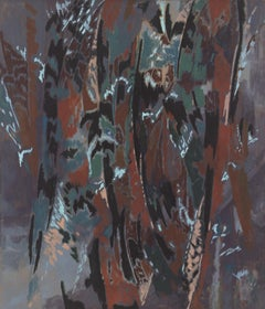Among Eucalyptus, Abstract Expressionist Painting by Alan Gussow 1980