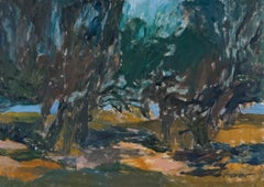 Grove by the Sea, Monhegan, Maine, Painting by Alan Gussow 1964