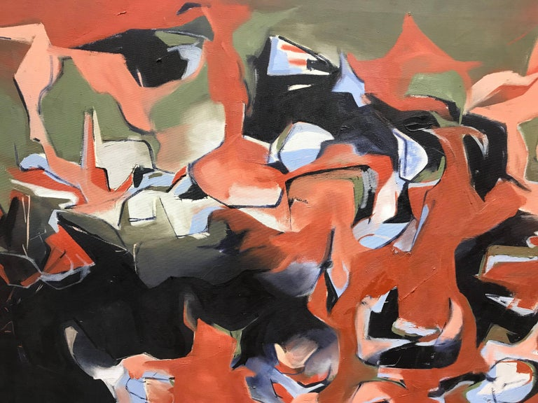 Untitled, Red Abstract Painting by Alan Gussow from 1953 For Sale 4