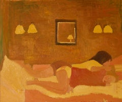 Lesbian Couple in Bed - Late 20th Century Oil Painting by Alan Lambirth