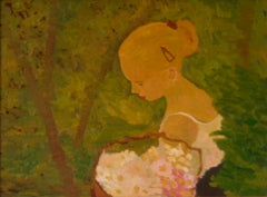 Young Woman with Flowers - Late 20th Century Impressionist Oil by Alan Lambirth