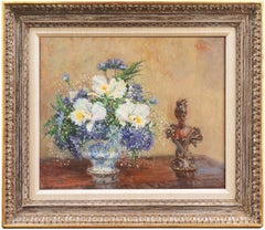 'White Irises & Cornflowers', Impressionist Still Life by Academy  Award Winner