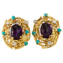 Alan Martin Gard 18 Karat Gold Ladies Clip-On Earrings