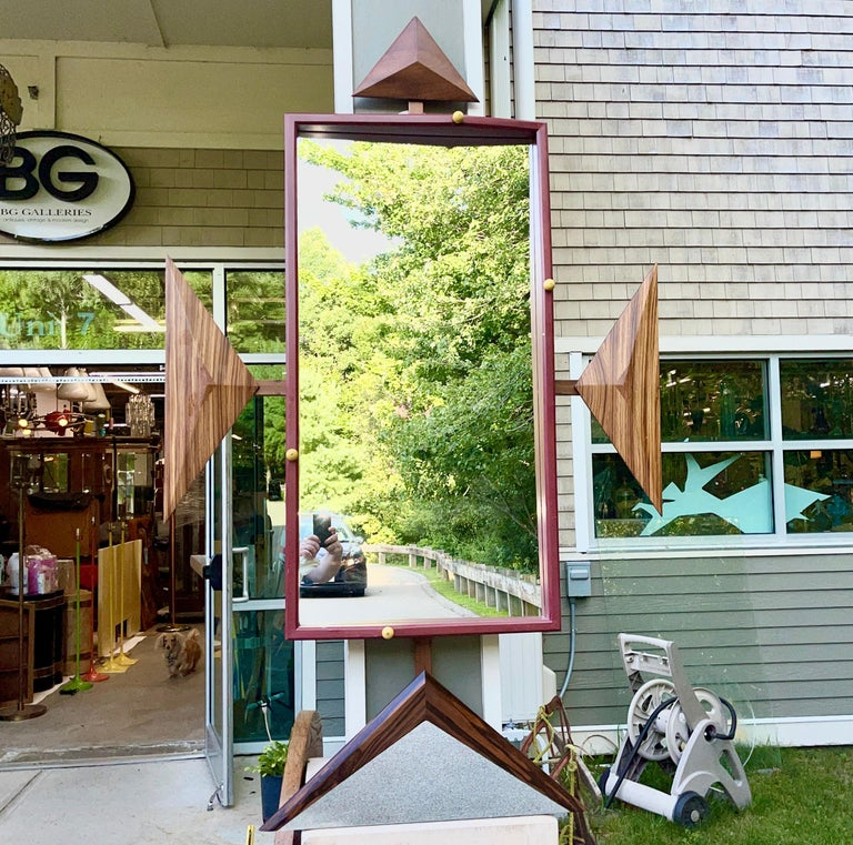 Custom woodwork decorative wall mirror created by artist Alan S. Kushner of Philadelphia circa 1990. Signed