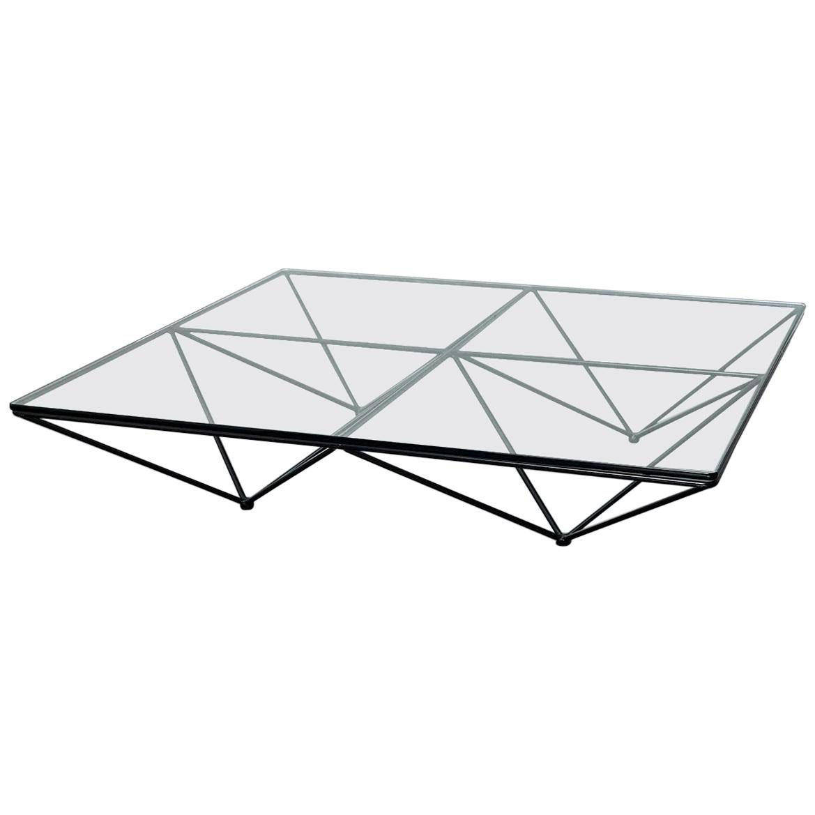 Alanda Coffee Table by Paolo Piva with Square Glass and Metal Structure