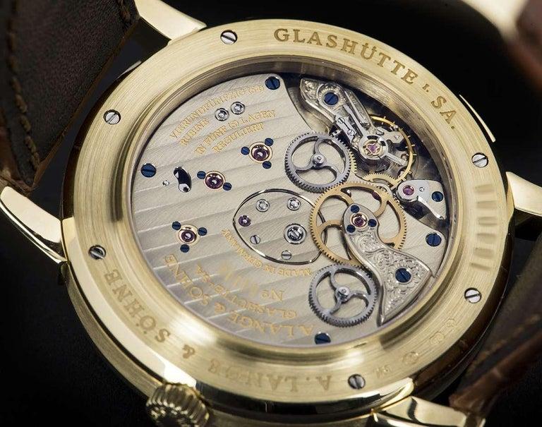 A. Lange & Söhne 18 karat Yellow Gold Silver Dial Time Zone 1 B&P 116.021 For Sale 3