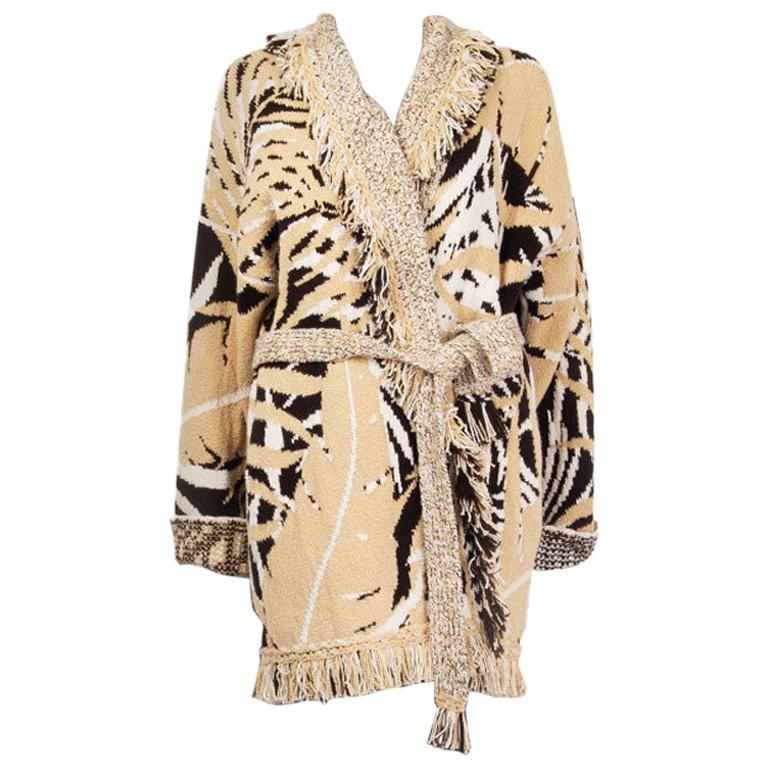 ALANUI beige cashmere JUNGLE FOLIAGE Belted Cardigan Sweater L