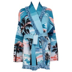 ALANUI blue cashmere SUNSET LANDSCAPE Belted Cardigan Sweater L