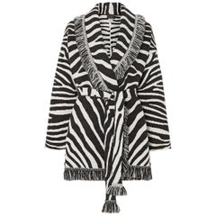 Alanui Lapponia Belted Fringed Zebra Jacquard Wool Cardigan