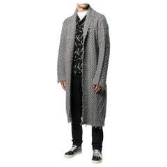 Alanui Men's Grey Longline Cable Knit Cardigan - Size S